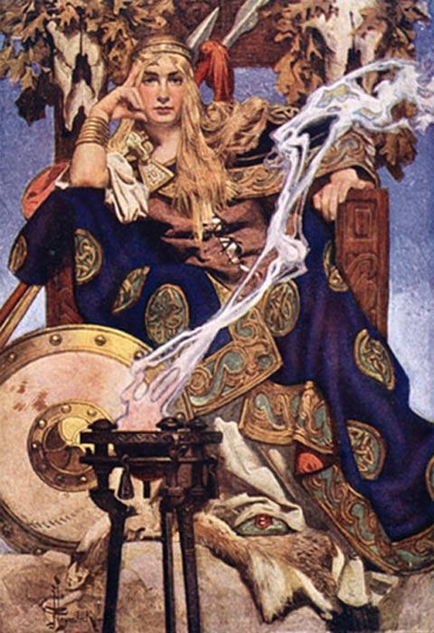 La reina Medb de Connacht, ilustración de J. C. Leyendecker (Public Domain)