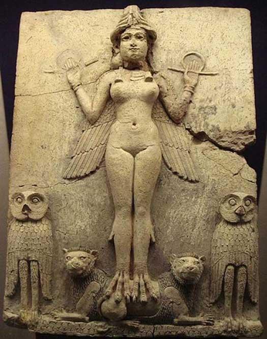 """Relieve de la """"Reina de la Noche"""", una figura considerada por lo general como uno de los aspectos de la diosa Ishtar (la Inanna sumeria), diosa mesopotámica del amor sexual y de la guerra. (Dominio público)"""