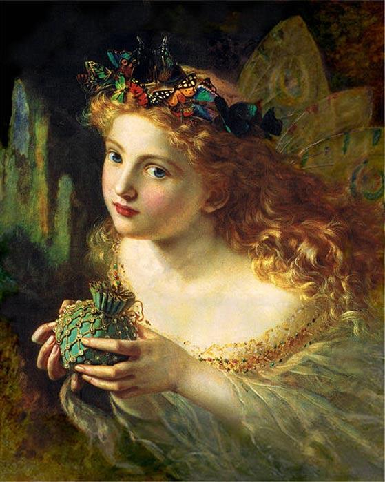 'Toma el bello rostro de una mujer, y adórnalo dulcemente con mariposas, flores y joyas. Ya que tu hada está hecha de las cosas más bellas,' óleo de Sophie Gengembre Anderson conocido también como 'La Reina de las Hadas'. (Public Domain)