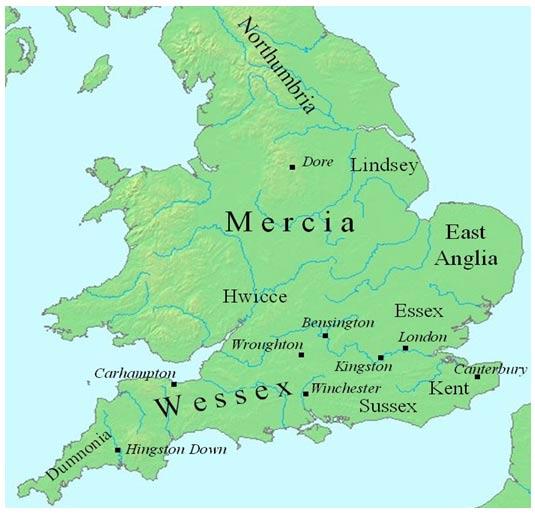 Mapa de Inglaterra mostrando la localización del Reino de Mercia entre los años 700 y 800 de nuestra era.