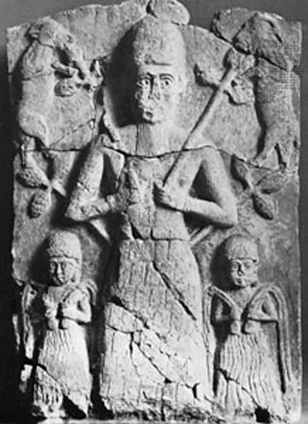 Tammuz, relieve de alabastro hallado en Ashur, c. 1500 a. C.; Museos Estatales de Berlín, Alemania (Imagen: Foto Marburg/Art Resource, Nueva York)