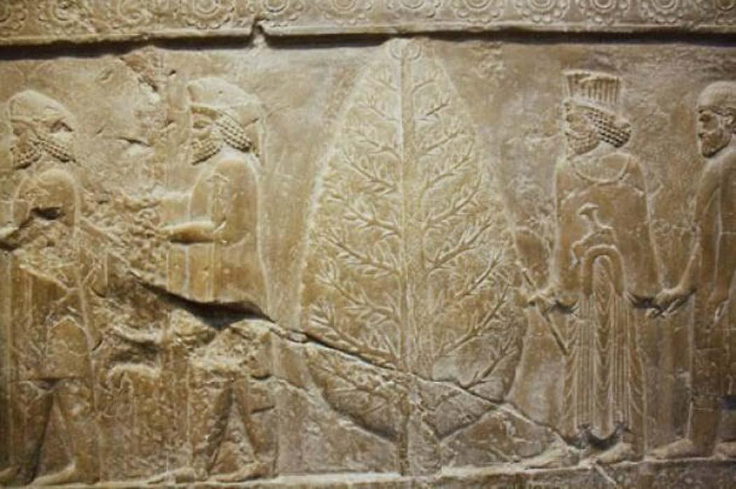 Mitra y el árbol inmortal en un relieve de Persépolis, capital ceremonial del Imperio aqueménida. (IPC)