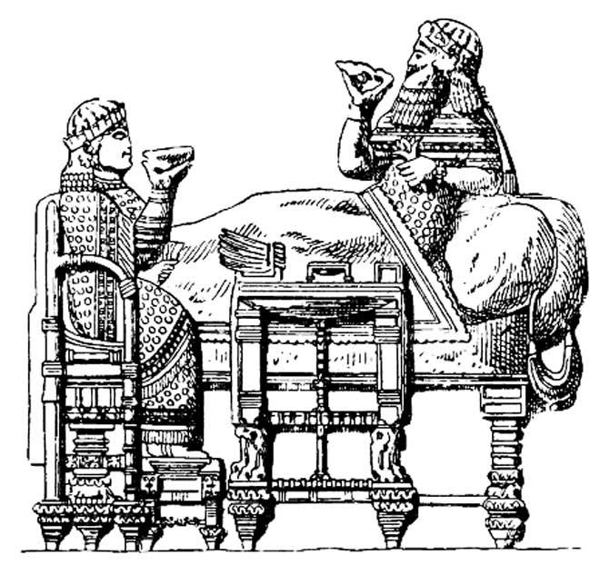 Mobiliario asirio. Banquete del rey Asaradón basado en un relieve de Nínive. (Dominio público)