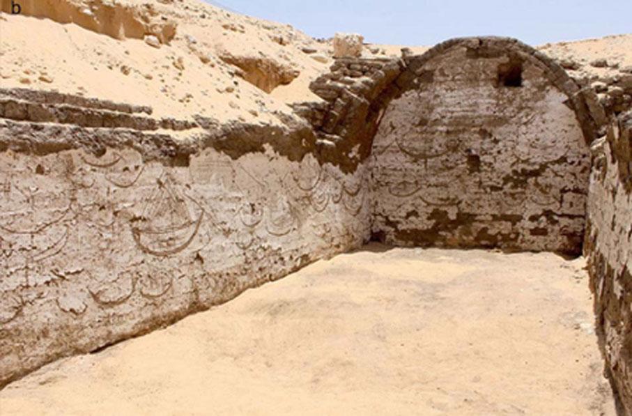 Antiguos relieves egipcios de hace 3.800 años en los que aparecen representadas más de cien embarcaciones. Fotografía: Josef Wegner.