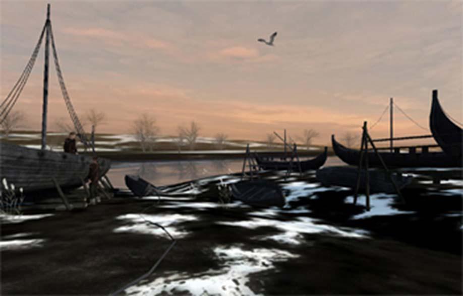 Experiencia de realidad virtual en el Museo de Yorkshire en la que se observan barcos vikingos en reparación. (Universidad de Sheffield)