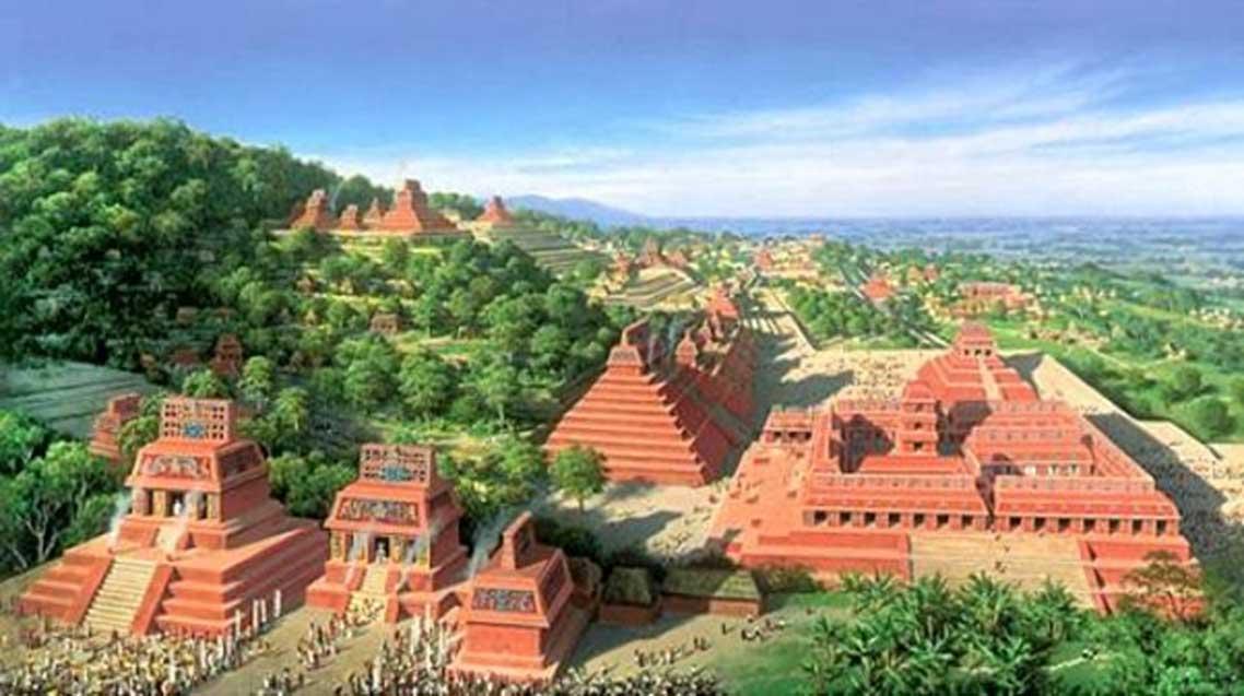Representación artística del posible aspecto de una antigua ciudad maya en el pasado (artista desconocido)