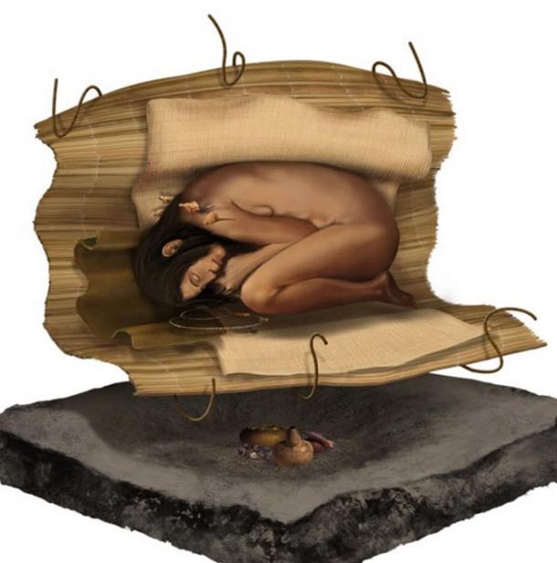 Representación artística del enterramiento de la mujer descubierto recientemente en la antigua ciudad de Áspero. (Ministerio de Cultura de Perú)