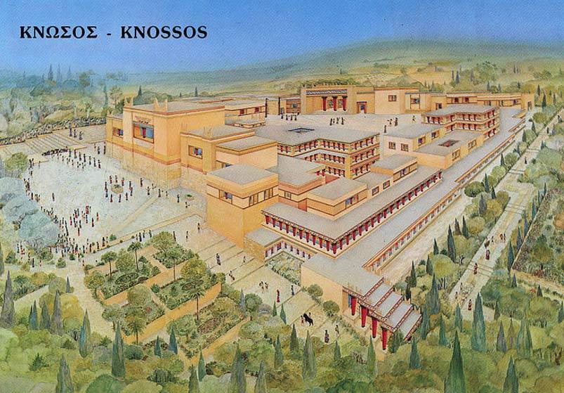Representación artística del Palacio de Knossos. (Mmoyaq/ CC BY SA 3.0)