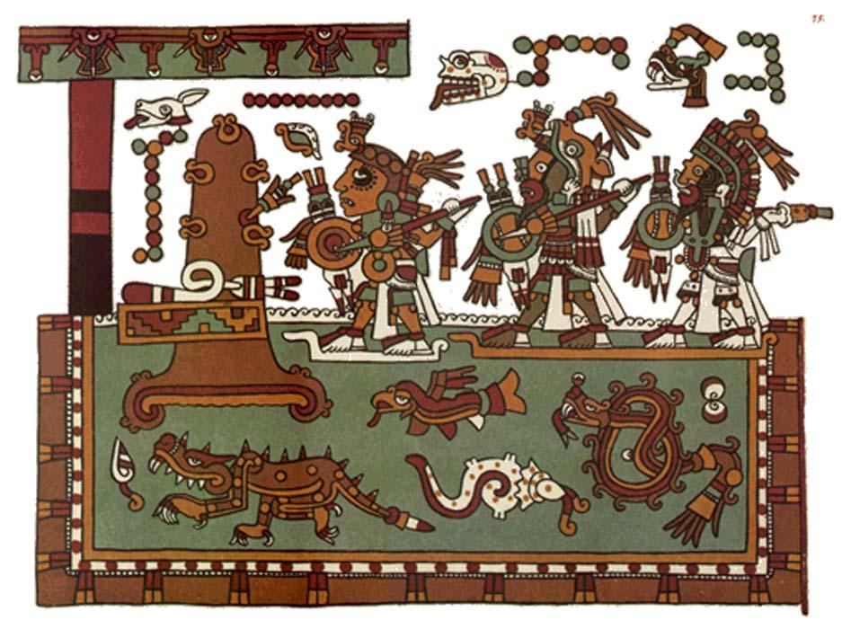 Representaciones pictóricas mixtecas utilizadas para la comunicación no verbal mediante imágenes simbólicas. (Public Domain)