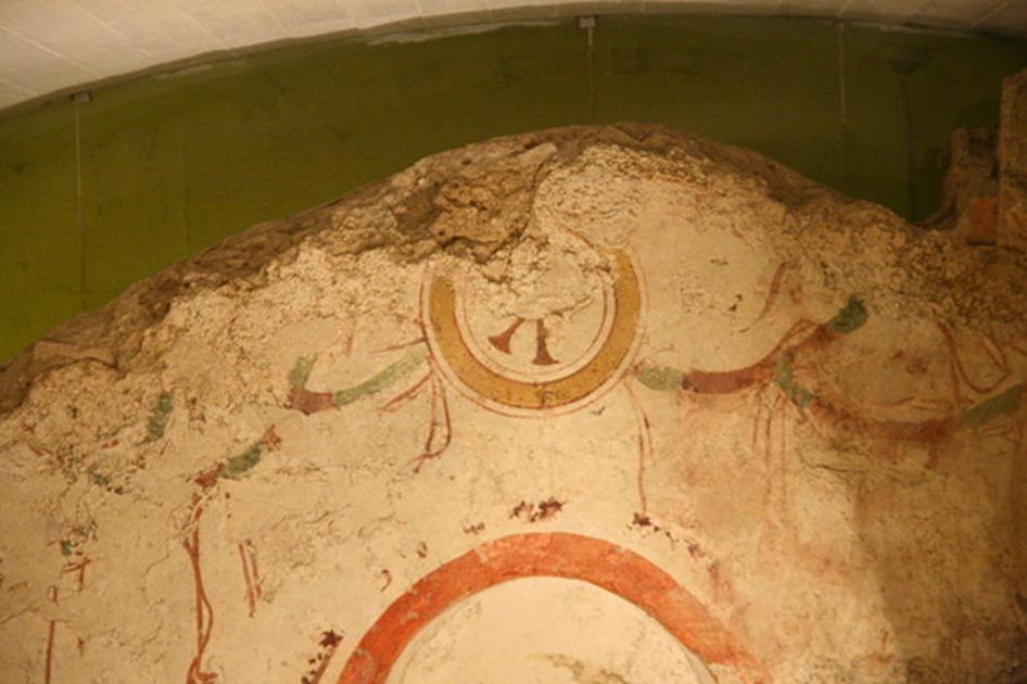 Restos de una pintura mural en la antigua necrópolis cristiana de Pécs (Mehlich, J/CC BY 3.0)
