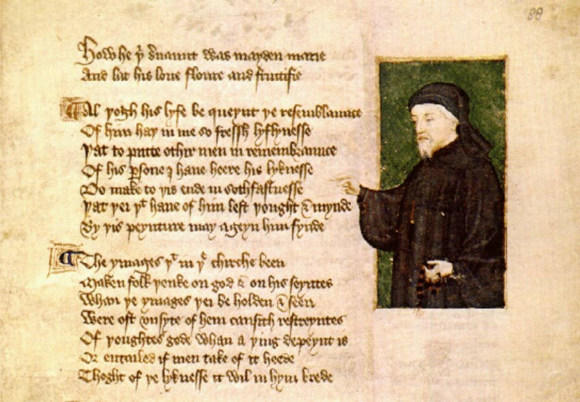 Retrato de Chaucer realizado por Thomas Hoccleve en su 'De regimini principum' (1412) Public Domain