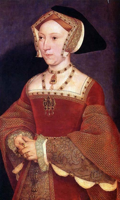 Retrato de Jane Seymour obra de Hans Holbein, 1537; nótese el oro trabajado sobre la tela a lo largo del collar y el oro, joyas y perlas presentes en el sombrero. Jane Seymour fue reina de Inglaterra durante un corto espacio de tiempo al convertirse en esposa de Enrique VIII. (Fotografía: UVM.edu)