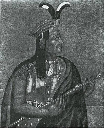 Retrato de Atahualpa, dibujado del natural por un miembro del destacamento de Pizarro durante la invasión española de Ecuador. 1533.