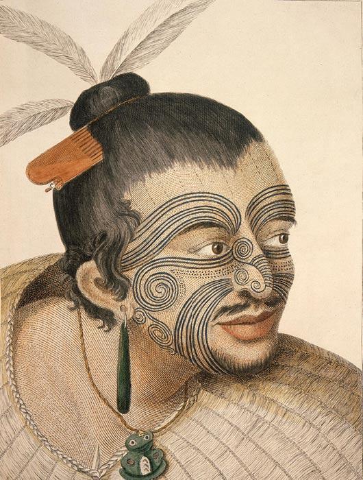 Retrato de un jefe maorí realizado por Sydney Parkinson, dibujante del capitán Cook en sus viajes durante el siglo XVIII. (Dominio público)