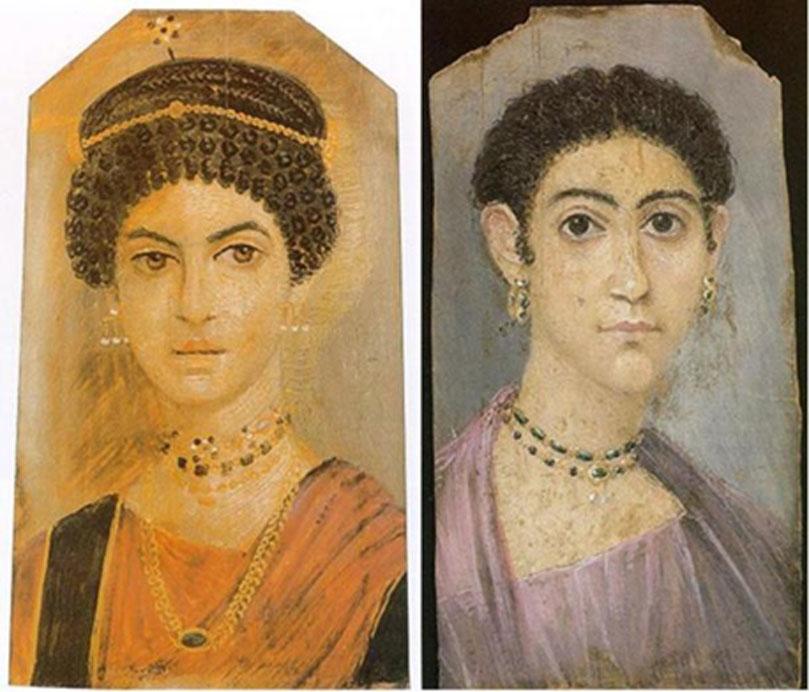 Dos retratos de Fayum pertenecientes a mujeres. (Izquierda: Dominio público. Derecha: Dominio público)