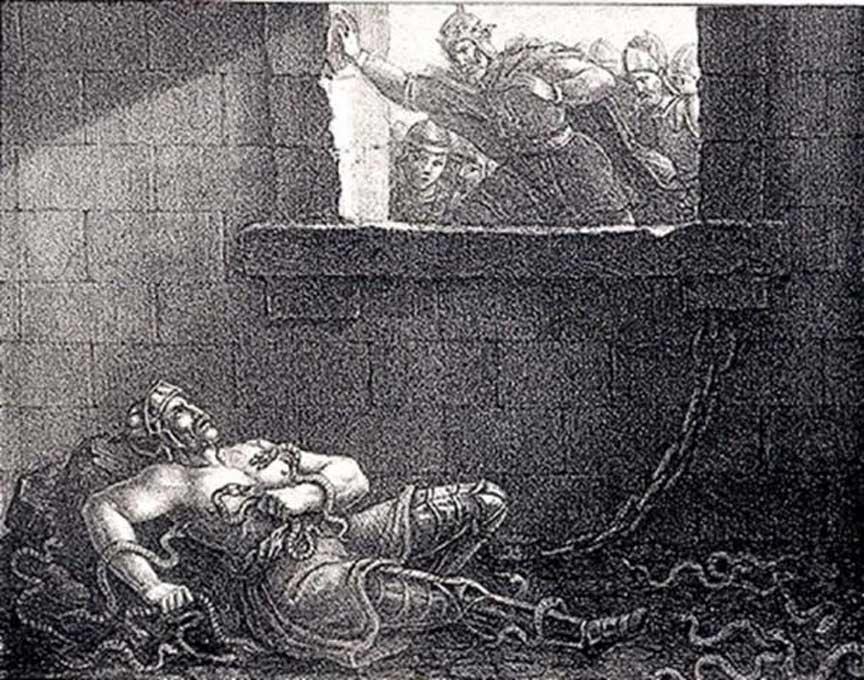 El rey Ælla de Northumbria ejecuta a Ragnar arrojándolo a un pozo lleno de serpientes. Grabado de Hugo Hamilton. (Dominio público)