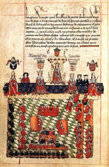 Ilustración del siglo XVI: Eduardo I presidiendo el Parlamento. A ambos lados de Eduardo aparecen Alejandro III de Escocia y Llywelyn ap Gruffudd de Gales, aunque este encuentro jamás tuvo lugar en realidad. (Public Domain)