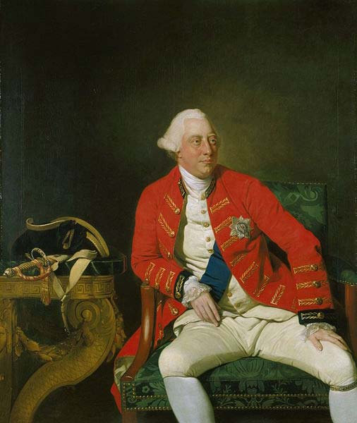 Jorge III del Reino Unido (1771), óleo de Johann Zoffany. (Dominio público) Al parecer la orina de este rey era de color azulado o púrpura.