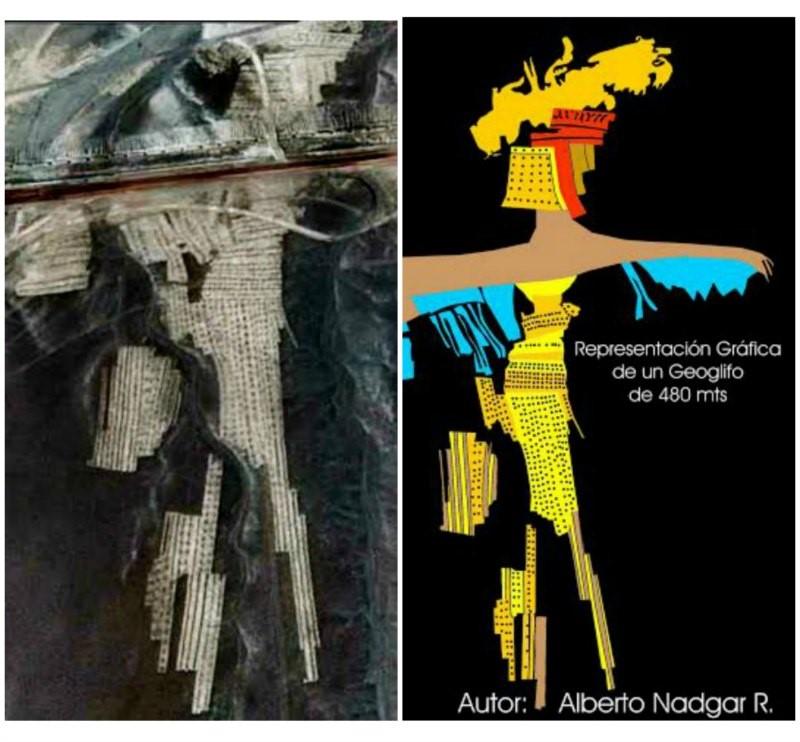 A la izquierda, imagen vía satélite del supuesto geoglifo gigante, de 480 metros de longitud, descubierto por el investigador chileno. A la derecha, representación gráfica del mismo. (Fotografías: Alberto Nadgar R.)
