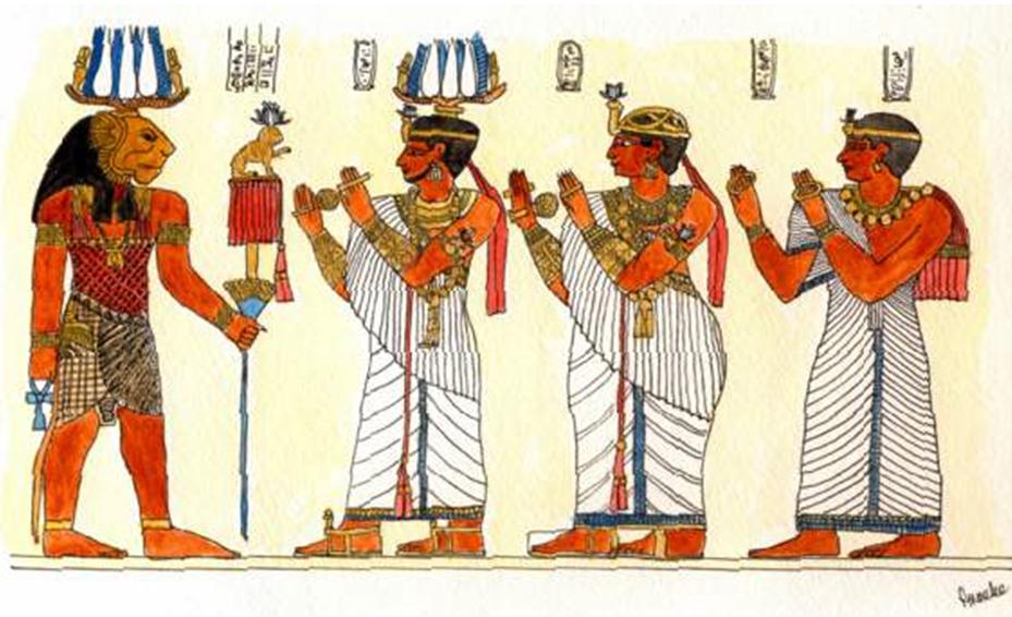 El rey Natakamani y la reina Amanitore honrando al dios Apedemak. (Universidad de Saint Louis)