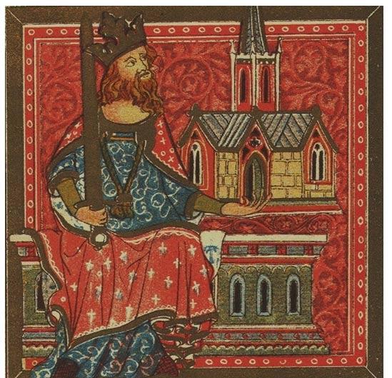 El Rey Offa de Mercia, del Libro de Benefactores de la Abadía de San Albano .ca 1380
