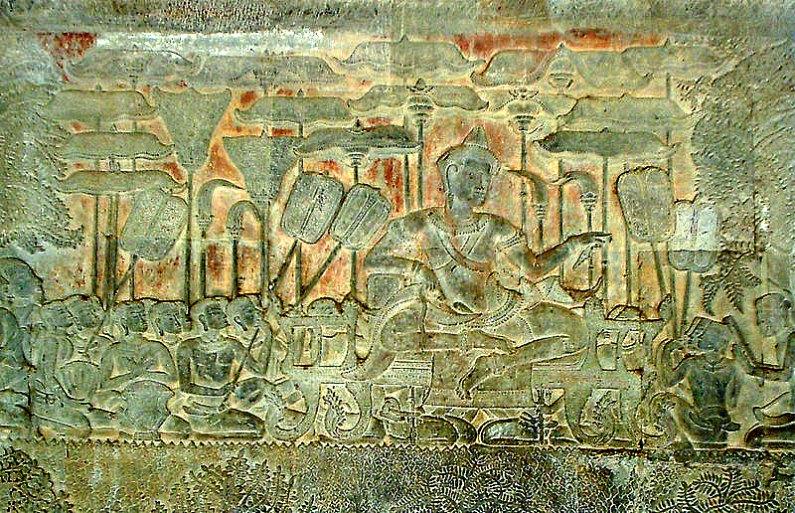 El rey Suryavarman II representado en un bajorrelieve descubierto dentro del complejo de Angkor Wat, construido bajo su reinado. (Public Domain)