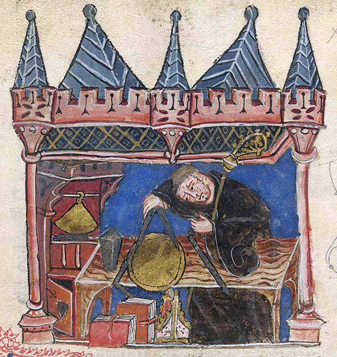 El astrólogo y astrónomo medieval Ricardo de Wallingford aparece en esta ilustración del siglo XIV midiendo un 'equatorium' con un compás. (Public Domain)