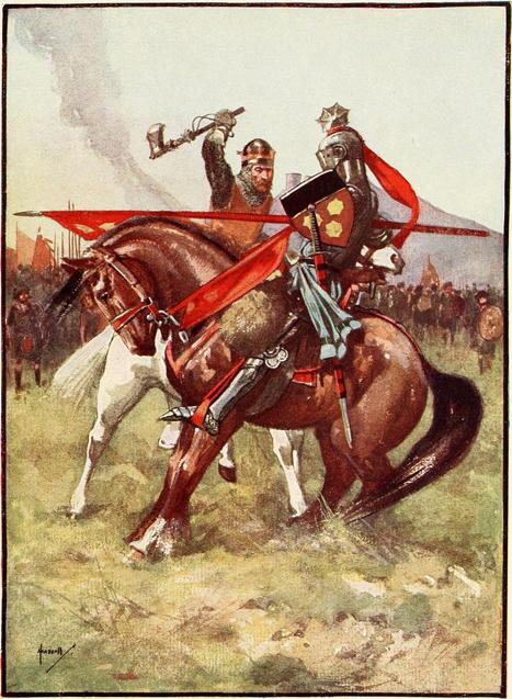 Robert Bruce a punto de asestar un golpe mortal con su hacha a Henry de Bohun. Ilustración de la 'Historia de Escocia para niños y niñas' de Henrietta Elizabeth Marshall. (Dominio público)