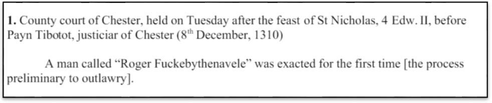 El texto transcrito por el Dr. Paul Booth a partir de su fuente medieval, en el que se descubrió el nombre 'Roger Fuckebythenavele' al examinar las actas judiciales del condado de Chester en el curso de una investigación sobre Eduardo II. Imagen: Paul Booth / Academia.