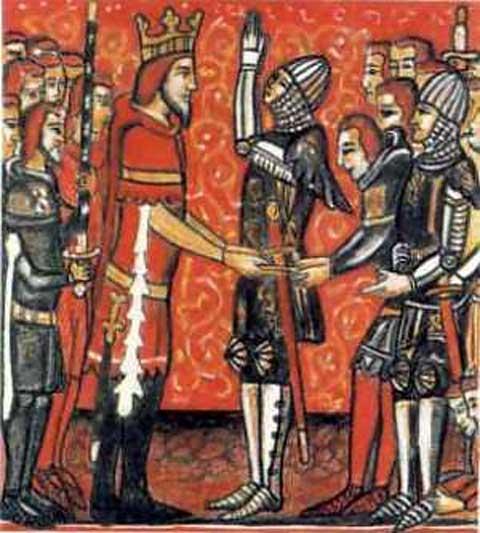 Roldán recibe Durandal de manos de Carlomagno. (Public Domain)
