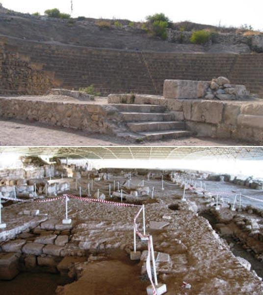 El anfiteatro romano (arriba) y la basílica cristiana (abajo) de la antigua ciudad de Solos, al norte de Chipre (Whatson North Cyprus)