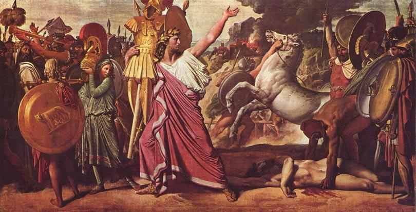 Rómulo, victorioso sobre Acrón, carga el rico botín para llevarlo hasta el templo de Júpiter.