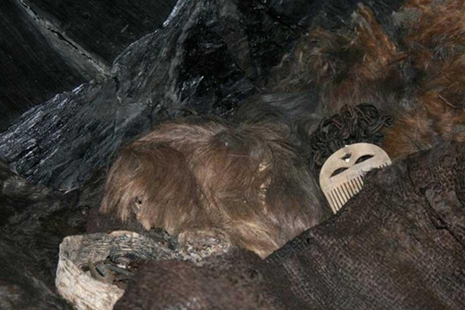Cabello y ropajes hallados en el ataúd de la muchacha de Egtved. (Fotografía: Karin Margarita Frei, Museo Nacional de Dinamarca)
