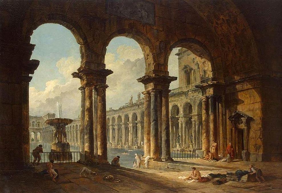 'Antiguas ruinas utilizadas como baños públicos,' óleo de Hubert Robert pintado en 1798. (Public Domain)