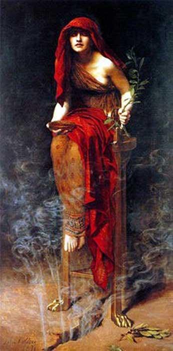 """""""Sacerdotisa de Delfos"""", óleo de John Collier. (Public Domain)"""