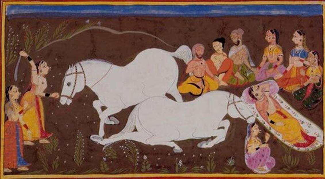 En el ashvamedha, sacrificio indio de caballos, el caballo representa al sol que se ha perdido y debe ser recuperado