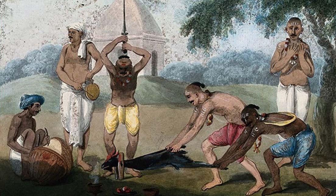 Con el paso del tiempo, la víctima humana de los sacrificios fue sustituida por animales (Wellcome Library, Londres)