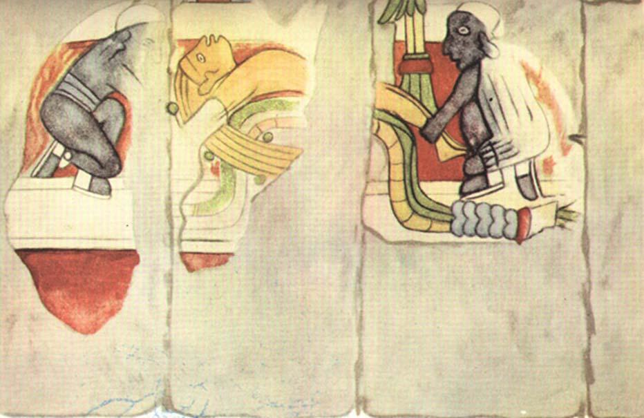 Murales de Chichén Itzá. Hombre de cabellos rubios a punto de ser sacrificado por dos hombres negros. (In the Cavity of a Rock)