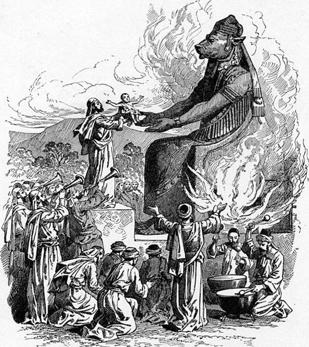 Ofrenda a Moloc en la que se arroja a un bebé al fuego (Dominio público)
