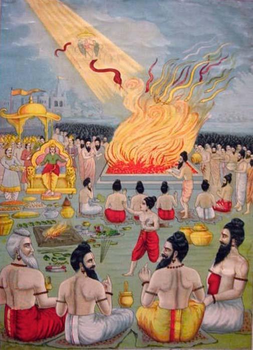 """El poema épico del Mahabharata se enmarca dentro de una narración realizada con motivo de un gran """"sacrificio de serpientes"""" llevado a cabo por el rey Janamejaya. (Dominio público)"""