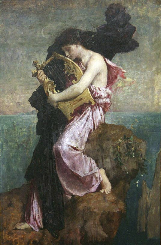 'Safo abrazando su lira', óleo de Jules Elie Delaunay (1828-1891). Dominio Público