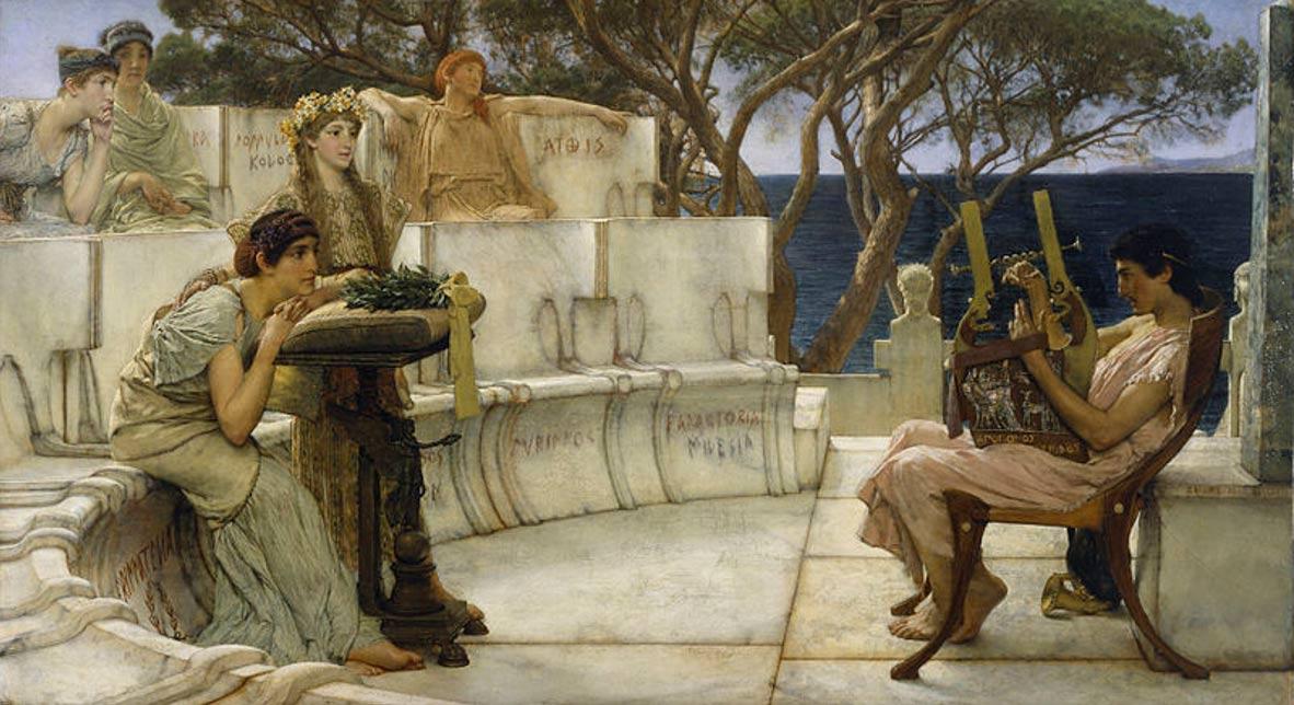 """""""Safo y Alceo"""", óleo de Lawrence Alma-Tadema pintado en 1881. Walter Arts Museum de Baltimore, Estados Unidos. Dominio Público"""