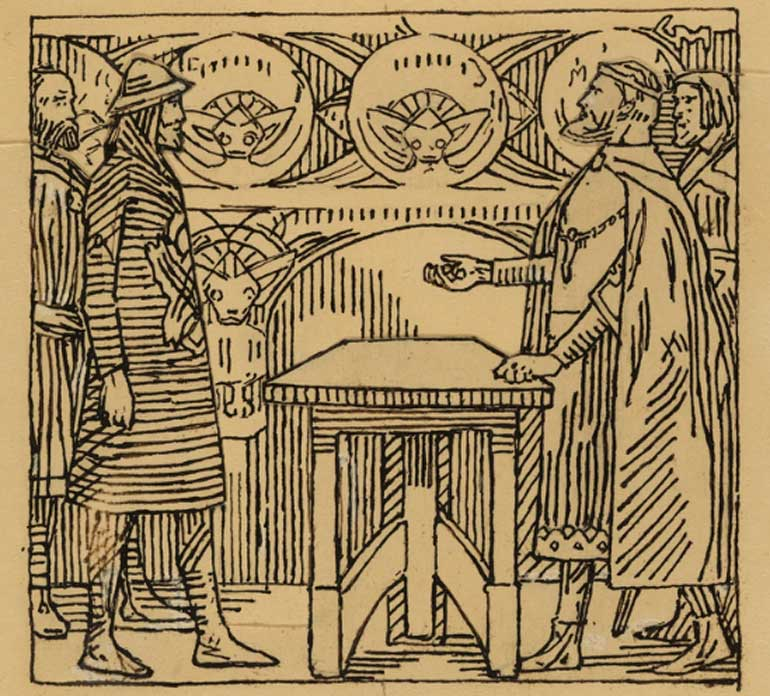 "Reyes jugando a los dados. Ilustración de ""La saga sagrada de Olav"", obra de Snorri Sturluson, Saga del rey, Kristiania 1899. (Nasjonalmuseet)"