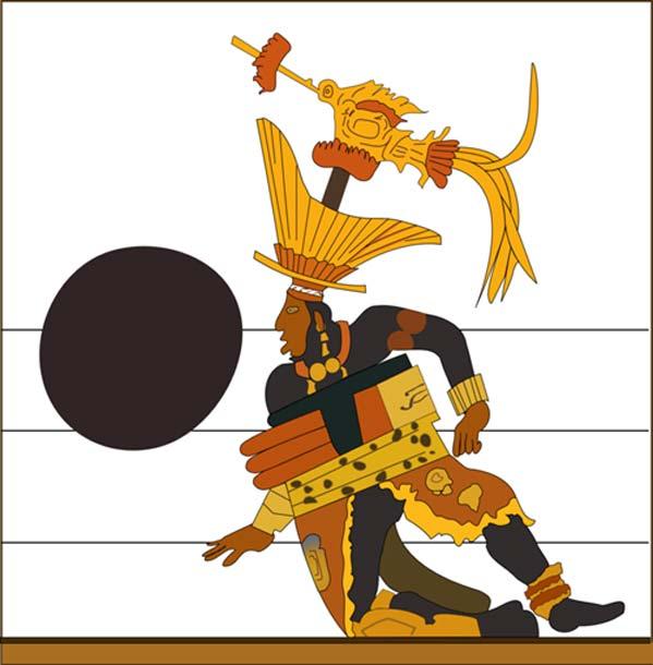 Sak Ch'een, señor de Motul de San José c. siglo VIII, ataviado como jugador de pelota (CC BY-SA 3.0)