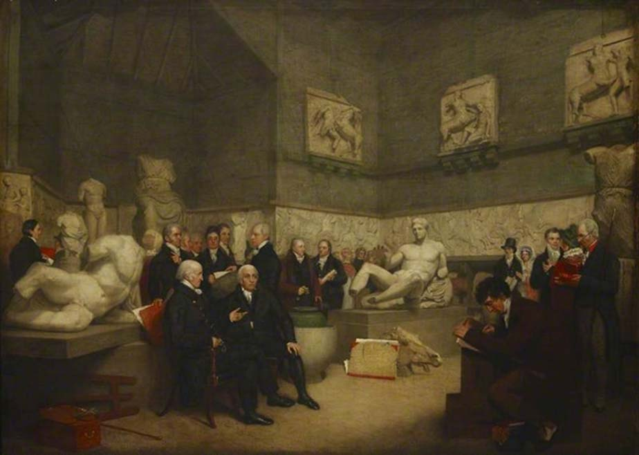 Vista idealizada de la Sala Temporal Elgin del Museo Británico en 1819. En la pintura se pueden observar varios delegados del museo, un administrador y algunos visitantes. (Public Domain)