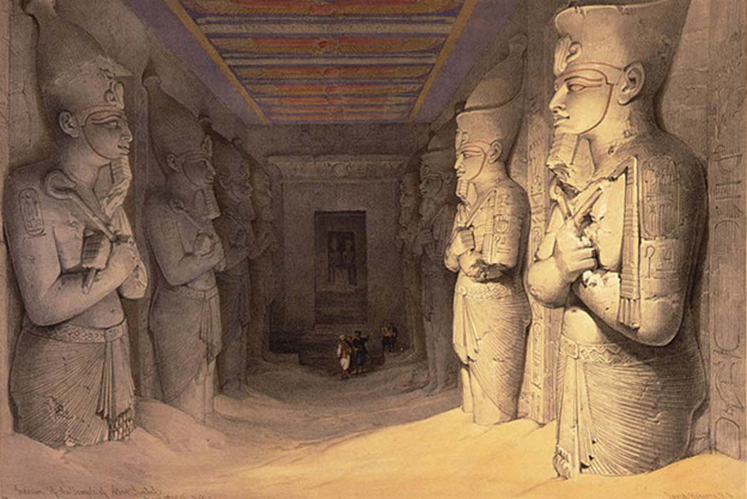 Otro grabado de la obra de David Roberts: la sala hipóstila de Abu Simbel con sus pilares osiriacos semienterrados (Dominio público)