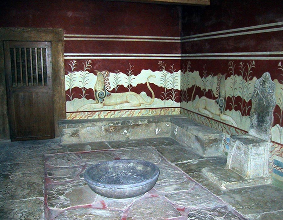 Antiguo salón del trono del palacio de Knossos, en la isla de Creta. (Wikimedia photo/Chris 73)