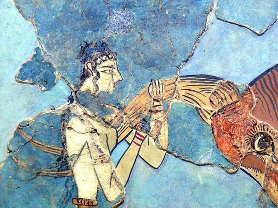 Fresco del salto del toro (1600 a. C. – 1450 a. C.) Museo Arqueológico de Herakleion, Creta (CC BY-SA 3.0)