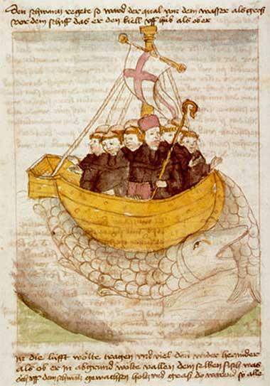 San Brandán y la ballena, ilustración de un manuscrito del siglo XV. (Dominio público)