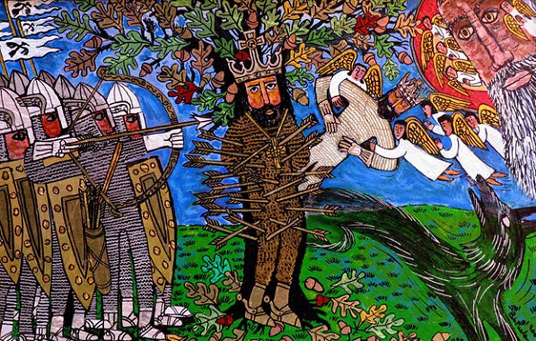 San Edmundo, rey sajón del Anglia Oriental, fue acribillado con multitud de flechas por los vikingos (CC by SA 3.0)